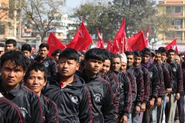 Maoists youth during a demonstration in Kathmandu February 2013